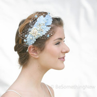 Wedding Headpiece of Vintage Blue Velvet Leaves and Enameled Flowers, with Birdcage Veiling, Wedding Hair, Vintage Style Headband