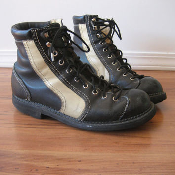 vintage John Fluevog Two Tone Boots / 8 Holes / Seventh Heaven Soles