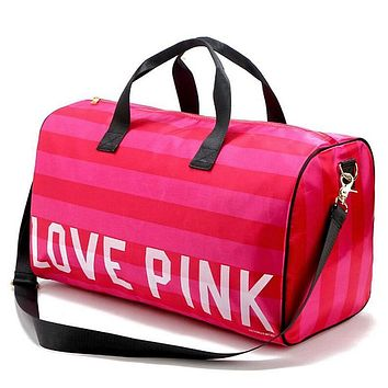 Women Fashion Sexy Love Pink Handbags Barrel-Shaped Large Capacity Travel Duffle Striped Waterproof Beach Bag Shoulder Bag W54