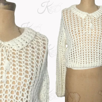Vintage Sweater, Mod Sweater, Crocheted Sweater, Peter Pan Collar, 1970s Sweater, 70s Sweater, White Sweater, Open Weave Crocheted Sweater