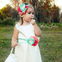 Lace and Satin Dress- Custom Dress, Ivory, Coral, Mint, Flower Girl, Wedding, Pageant, Birthday, Girl, Infant, Toddler, Child