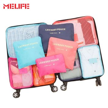 MELIFE 6pcs/set Waterproof Travel Swimming bag Men Women Polyester Double Zipper High-quality Nylon Packing cube Compression