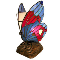 Tiffany Style Stained Glass Blue Butterfly Accent Table Lamp TU2021