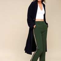 Private Jet Green Striped Track Pants