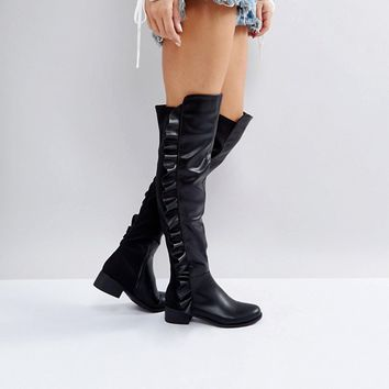 Truffle Collection Flat Over Knee Boots at asos.com