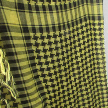 14-1104 Vintage 1980s Yellow And Black Check Square Scarf / Woven Scarf / Black and Yellow / Houndstooth Scarf / Fringe Scarf