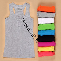 Girl's Mini Sleeveless Button T-Shirt Tank Tops = 1646039428