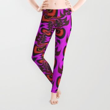 Surf Girl Abstract Repeat Pattern  Leggings by Louisa Catharine Design