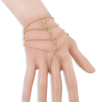 Fashion Celebrity Tassel Bangle Multi-layer Crystal Drill Bracelets For Women Jewelry Slave Finger Hand Chain Harness Gold