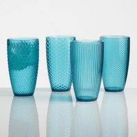 Large Aqua Textured Acrylic Tumblers Set of 4