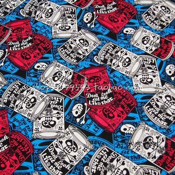 Skull Skulls Halloween Fall New 140cm Width Canned  Fabric 100%Cotton Fabric Telas Patchwork Canned  Printed Fabric Sewing Material DIY Clothing Calavera