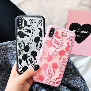 Luxury Mickey mini mouse cartoon leather soft silicone TPU case for iphone 6 6s 6plus 6s plus 7 8 plus couple cute black cover