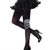 Skull And Crossbones Spandex Opaque Tights