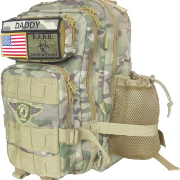 Camo Dad On Diaper Duty(D.O.D.D.) XH Backpack w/ Badges