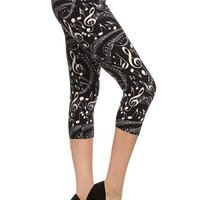 Women's Capri Music Note Leggings Black/White: OS/PLUS