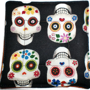 Quilted Coaster Set, Skull Coaster Set, Skull Drink Coasters, Drink Coasters, Beverage Coasters, Hostess Gift, Day of the Dead Coasters