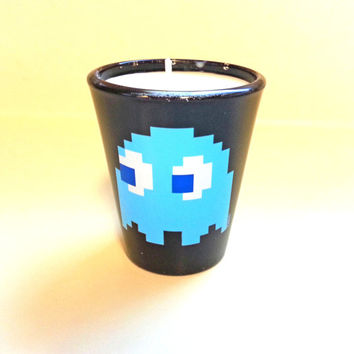 Pac Man Soy Candle - Inky the Blue Ghost - Shot Glass Candle - CHOICE OF SCENT