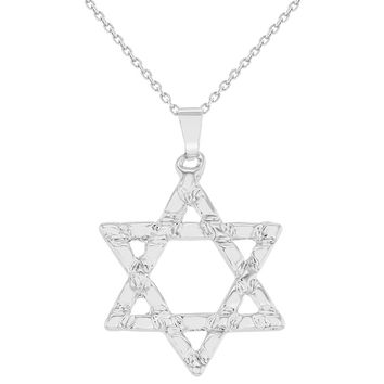 Rhodium Plated Star Of David Pendant Necklace Jewish Religious 19""
