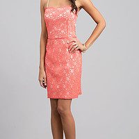 Short Spaghetti Strap Lace Dress
