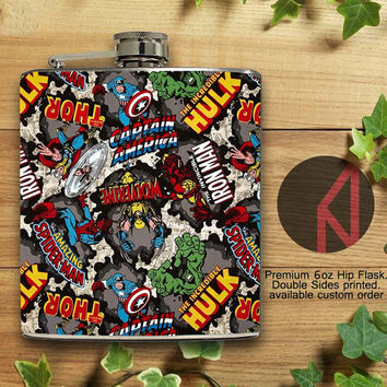 The Avengers Pattern 6oz Hip Flask