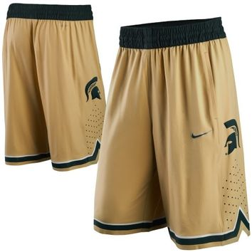 Nike Michigan State Spartans Hyper Elite Performance Basketball Shorts - Bronze