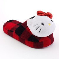 Hello Kitty Check Plush Slippers - Girls