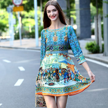 2016 Autumn Winter Runway Dress High Quality Fashion Women Dresses Elegant Ladies Beading Vintage Print Jacquard Casual Dresses