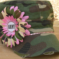 Army mom cadet hat camouflage cadet hat with pink and camo flowers and pink rhinestones