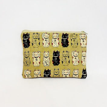 Small Zipper Pouch Cosmetic Bag Toiletry Bag Lucky Cats in Taupe
