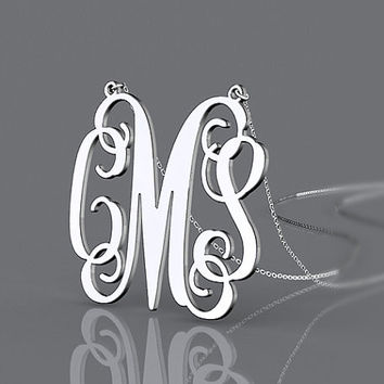 New personalized silver jewelry 1.25 inch monogram name necklace or 1.5 inch can be customized
