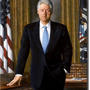Bill Clinton Portrait, Wall Picture Art on Stretched Canvas, Ready to Hang!