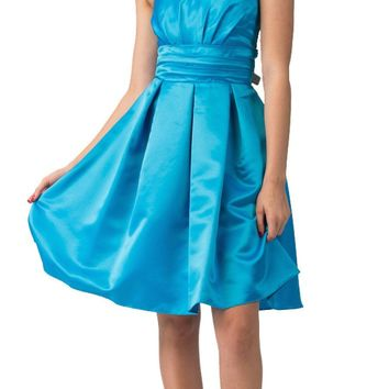 Turquoise Knee Length Bridesmaid Dress Strapless Empire Pleated Bodice