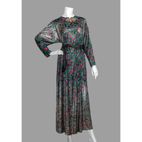 David Brown 1970s Evening Gown, Avant Garde 70s Maxi Dress, Asian Style Paisley Op Art Caftan Dress, Silver Red Purple Green, Free Size