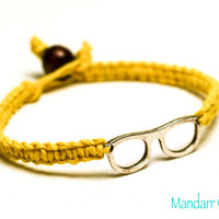 Clearance Sale, Nerd Glasses Bracelet, Geek Jewelry, Bright Yellow Hemp Bracelet, Gifts for Her, College Student Gift