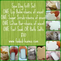 Spa Day gift set- sugar scrub,bath salts/foot soak,lip balm,lotion bar