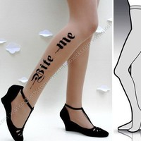 l/xl sexy HALLOWEEN BITE ME tattoo tights / stockings/ by post