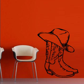 Wall decal decor decals art boots hat cowboy Texas stetson ranch Mexico Canada western (m682)