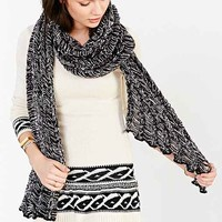 Marled Open-Knit Scarf- Black & White One