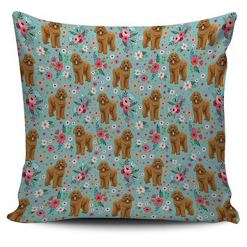 Goldendoodle Flower Pillow Cover