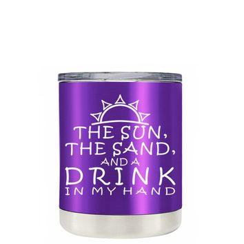TREK The Sun The Sand and a Drink in my Hand on Translucent Purple 10 oz Lowball Tumbler