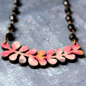 Necklace in Pink, Yellow and Black with Plant - Succulents - Collaboration with Belinda Marshall