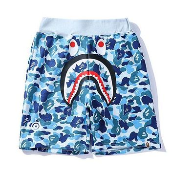 BAPE AAPE Summer Classic Popular Men Women Casual Camouflage Shark Mouth Print Sport Short Blue