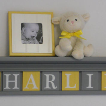 "Yellow Gray Nursery Wall Art Grey Yellow Baby Nursery Decor - Custom for CHARLIE - Personalized 30"" Wood Shelf Sign 7 Wood Wall Letters"