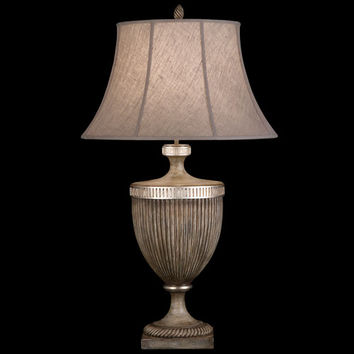 Fine Art Lamps 810810ST Villa Vista One-Light Table Lamp in Hand Painted Driftwood Finish On Metal with Silver Leafed Accents and Hand Sewn Driftwood Linen Shade