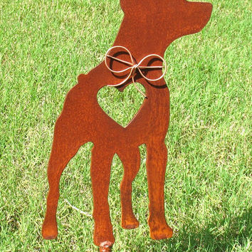 Miniature Pinscher Dog Metal Garden Stake - Metal Yard Art - Metal Garden Art - Pet Memorial