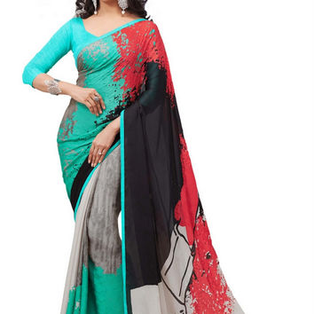 Scintillating Designer Graphic Printed Black and Turquoise Satin Saree D-113