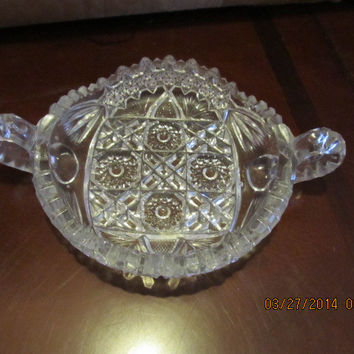 VINTAGE LEAD CRYSTAL CANDY DISH WITH DOUBLE HANDLES