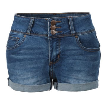 LE3NO Womens Fitted High Rise Push Up Denim Jean Shorts (CLEARANCE)