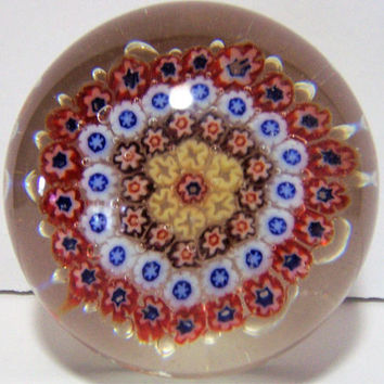 Murano Millefiori Blown Art Glass Paperweight, Multi Color Floral Murrini , Mid Century Paper Weight,  Italian Glass 118