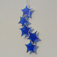 Blue Star Cascade Suncatcher,  Sapphire Blue Stained Glass Suncatcher